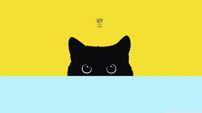 Kitty Simple Cat Minimalism Digital Art Wallpaper