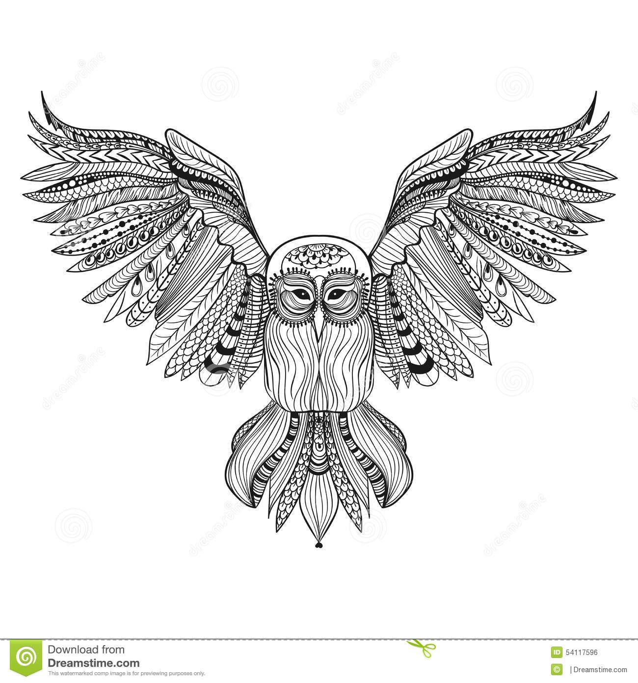 Zentangle Stylized Black Owl Hand Drawn Illustration