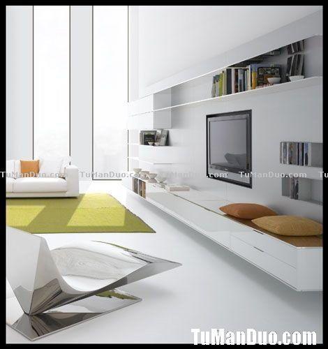 Blue Fashion Korea Style Living Room Design Layout TV Backwall