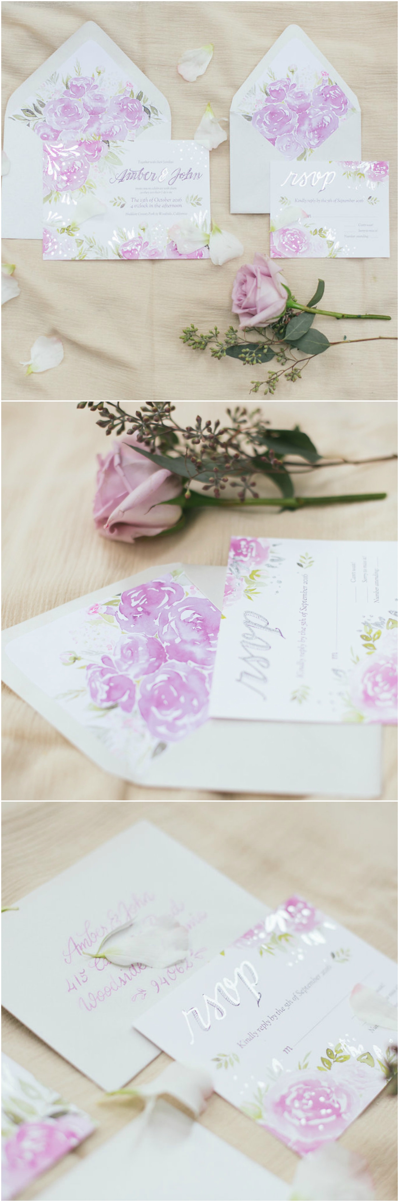 Wedding Invitations Floral Paper Suite Purple Roses Michelle