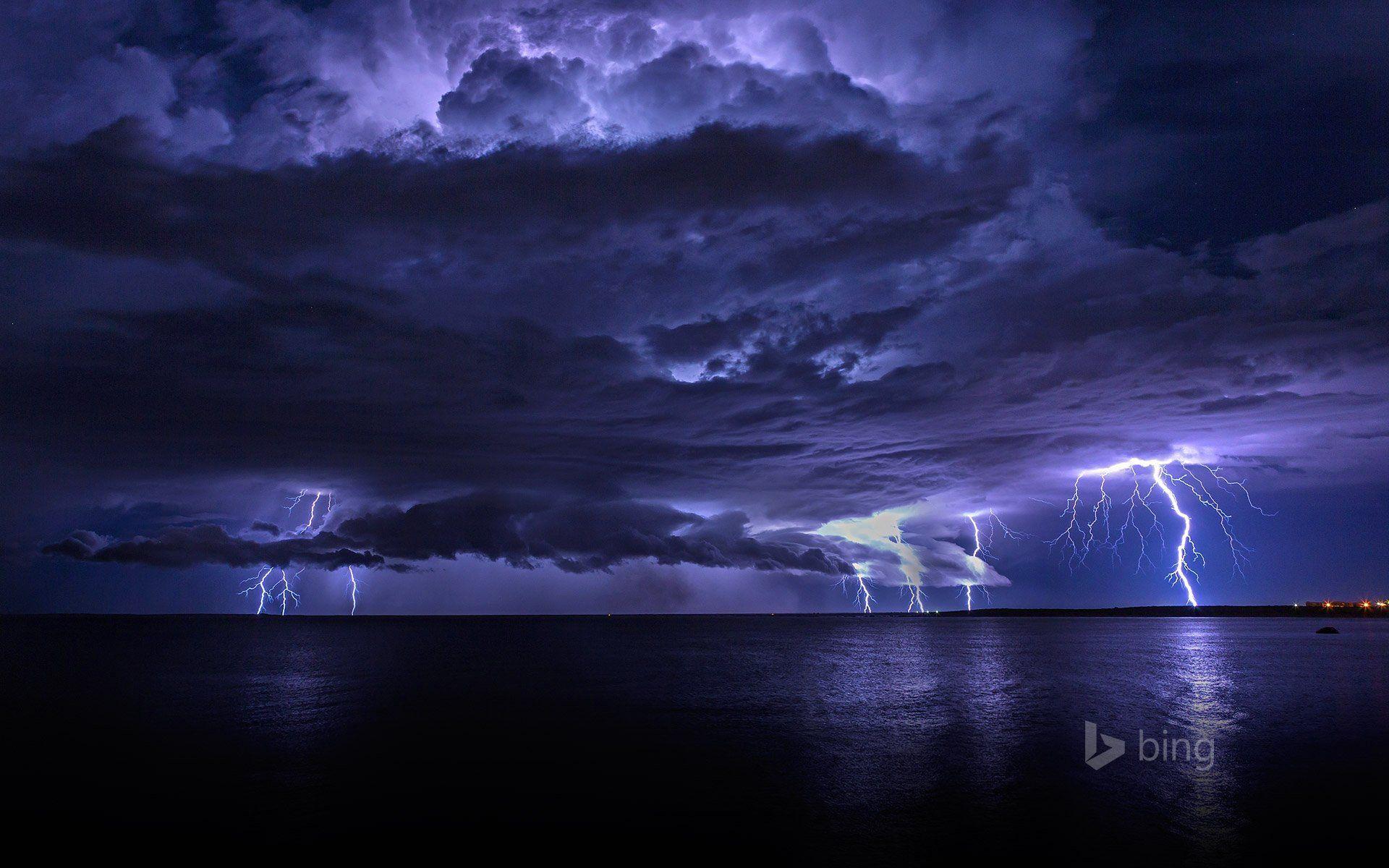 sky clouds the storm lightning sea night lights HD