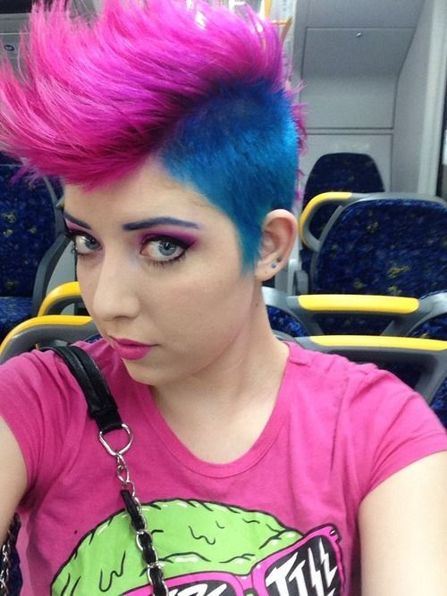 Pink And Blue Mohawk Hair 3 Pinterest Mohawks Hair Style