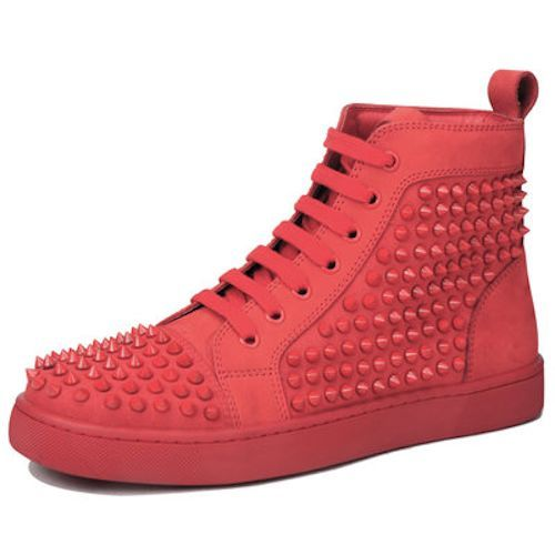 Red Spike Studded Lace Up Punk Rock Hip Hop High Tops Boots Men SKU-1280045