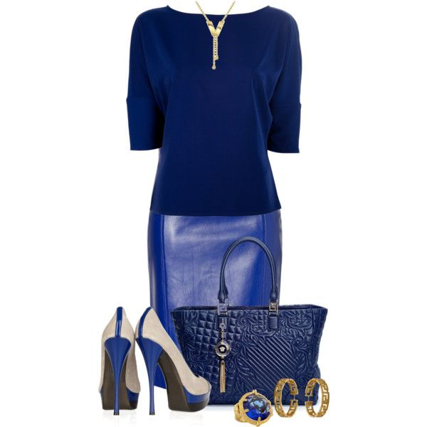Versace by fashion-766 on Polyvore featuring Versace, Versus, long shirts, leather skirts, patent leather handbags, white, pumps, gold, shirts and blue
