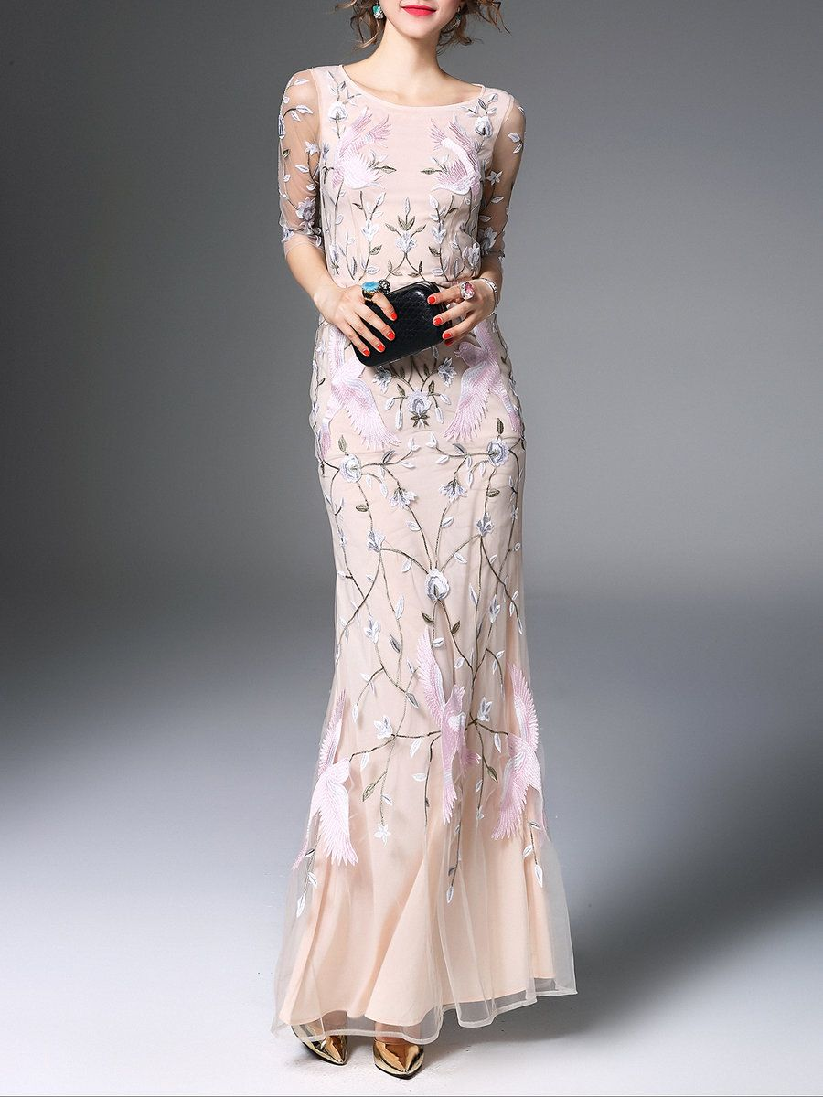 Floral Evening Mesh 3/4 Sleeve Maxi Dress - StyleWe.com | Gowns and ...