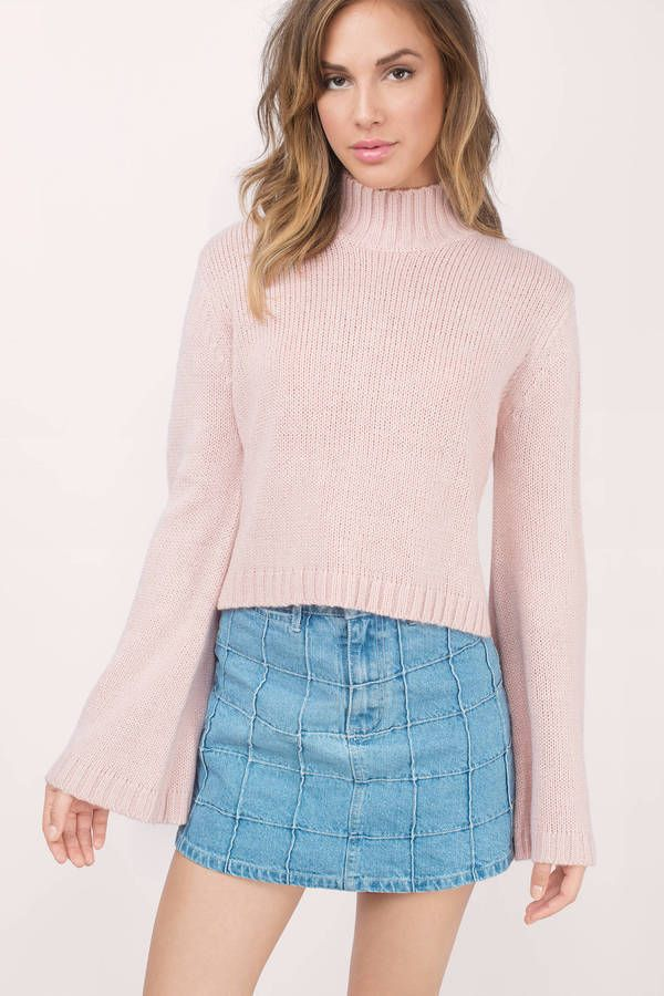 Designed by Tobi. The Benson Bell Sleeve Sweater features a mock neck and bell shaped sleeves for a nostalgic appeal. Pair with skinny or relaxed bottoms. 1 00% ACRYLIC