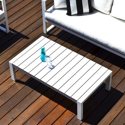 Harbour Outdoor Piano Coffee Table Frame Base Finish: Silver, Top Finish: Charcoal