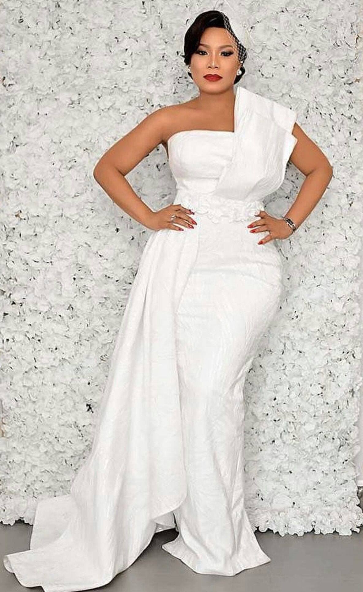African wedding cape dress/African white cape dress/prom