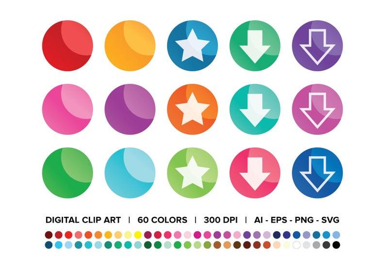 Round Web Button Clip Art Set Png Svg Vector Ombre Gradient Etsy Clip Art Art Set Creative Graphic Design