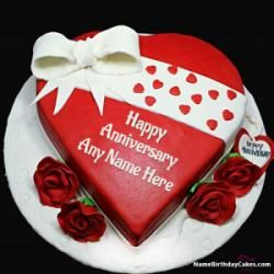 Get Free Marriage Anniversary Cake With Name Happy Birthday
