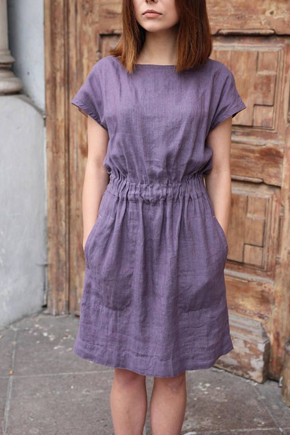 Linen dress with elastic waist and pockets Casual linen dress for summer Women linen clothes