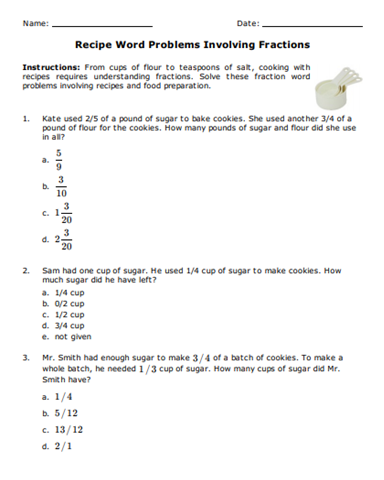 Free Math Worksheet Recipe Word Problems Involving Fractions Fractions 5thgrade 5thgrademath Ma Fraction Word Problems Word Problems Free Math Worksheets