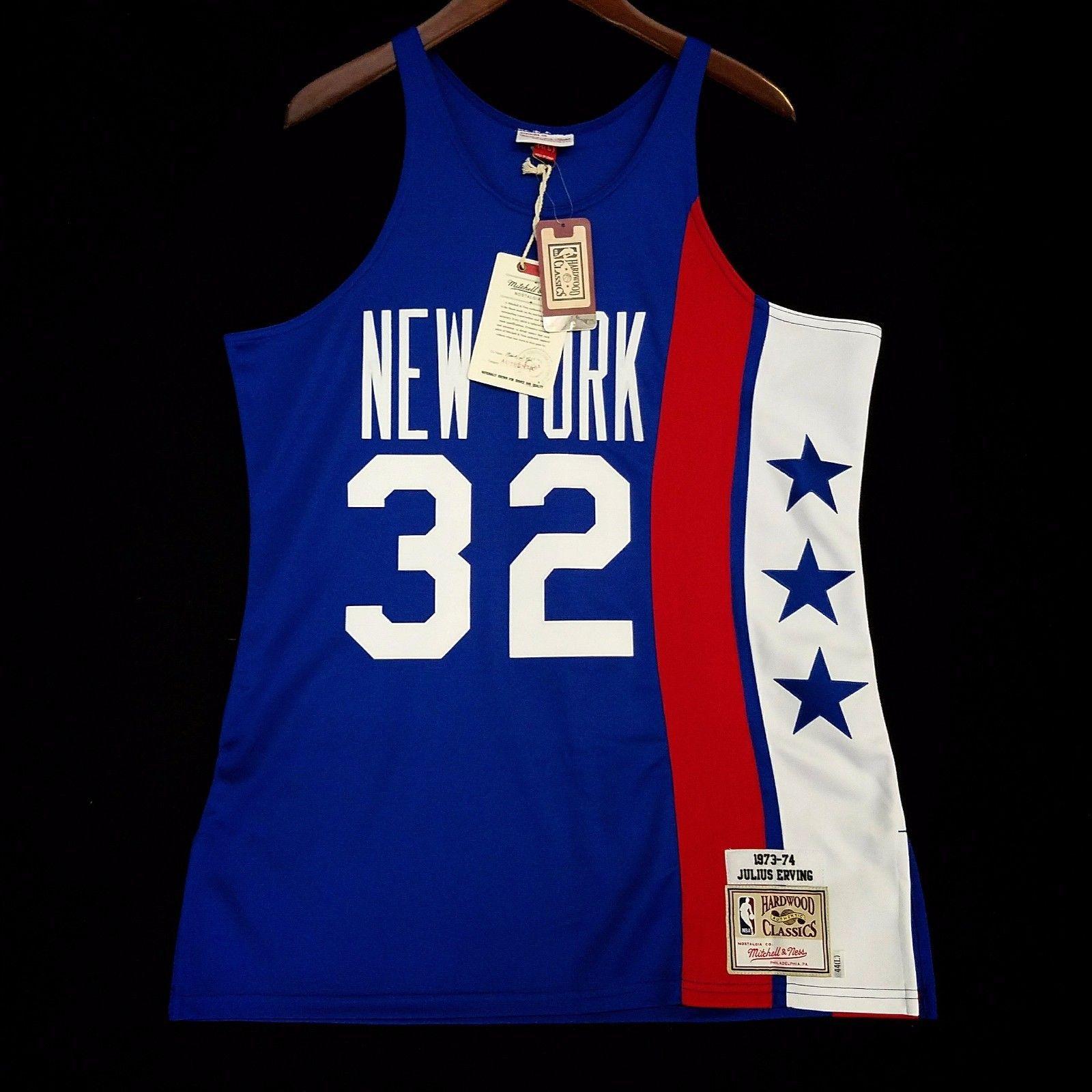 de548ea32 Size 44 L Dr J Julius Erving Mitchell Ness NY Nets NBA Jersey 100% Authentic