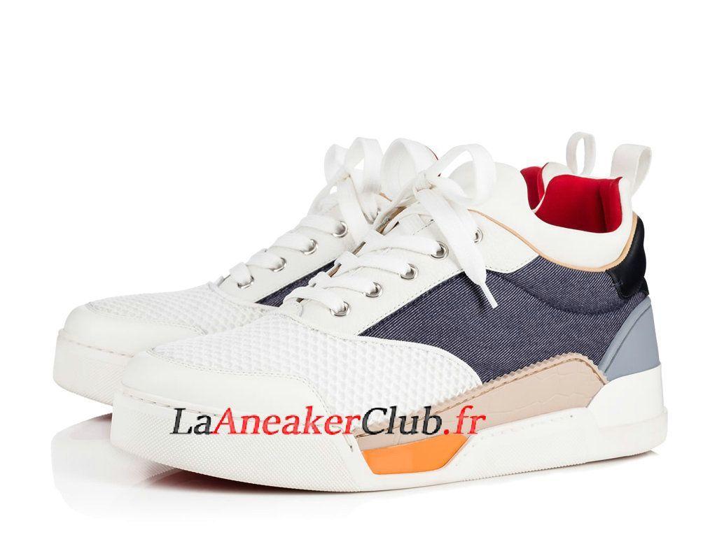 Christian Louboutin Aurelien Flat Chaussures Officiel Basket Pas Cher Pour  Homme Blanc Bleu 1181032CMA3 - 1181032CMA3 78f5ae78baa