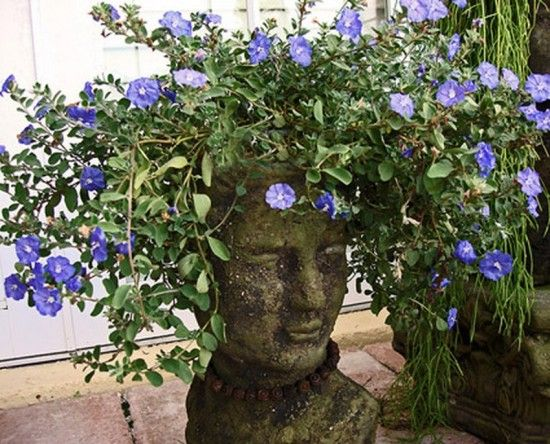 How to make cement Head Planters - easy tutorial on our site