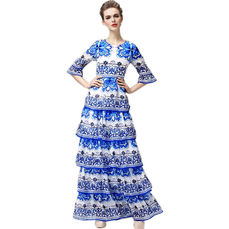 c3ef52dd352  Free Shipping  Buy Best Plus Size XXXL Maxi Long Dress Women. Porcelain  PrintWhite ...