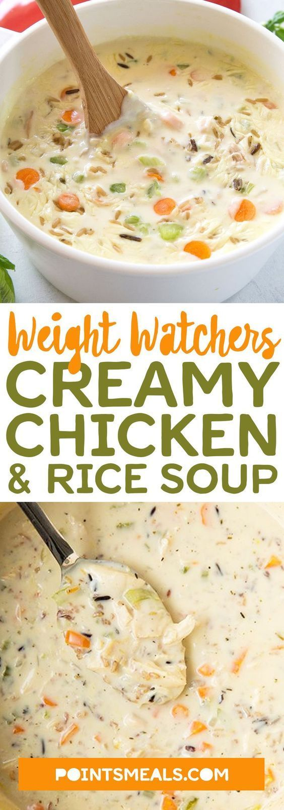 Creamy Chicken & Rice Soup (slow cooker) #weight_watchers #soup #dinner #ricecookermeals