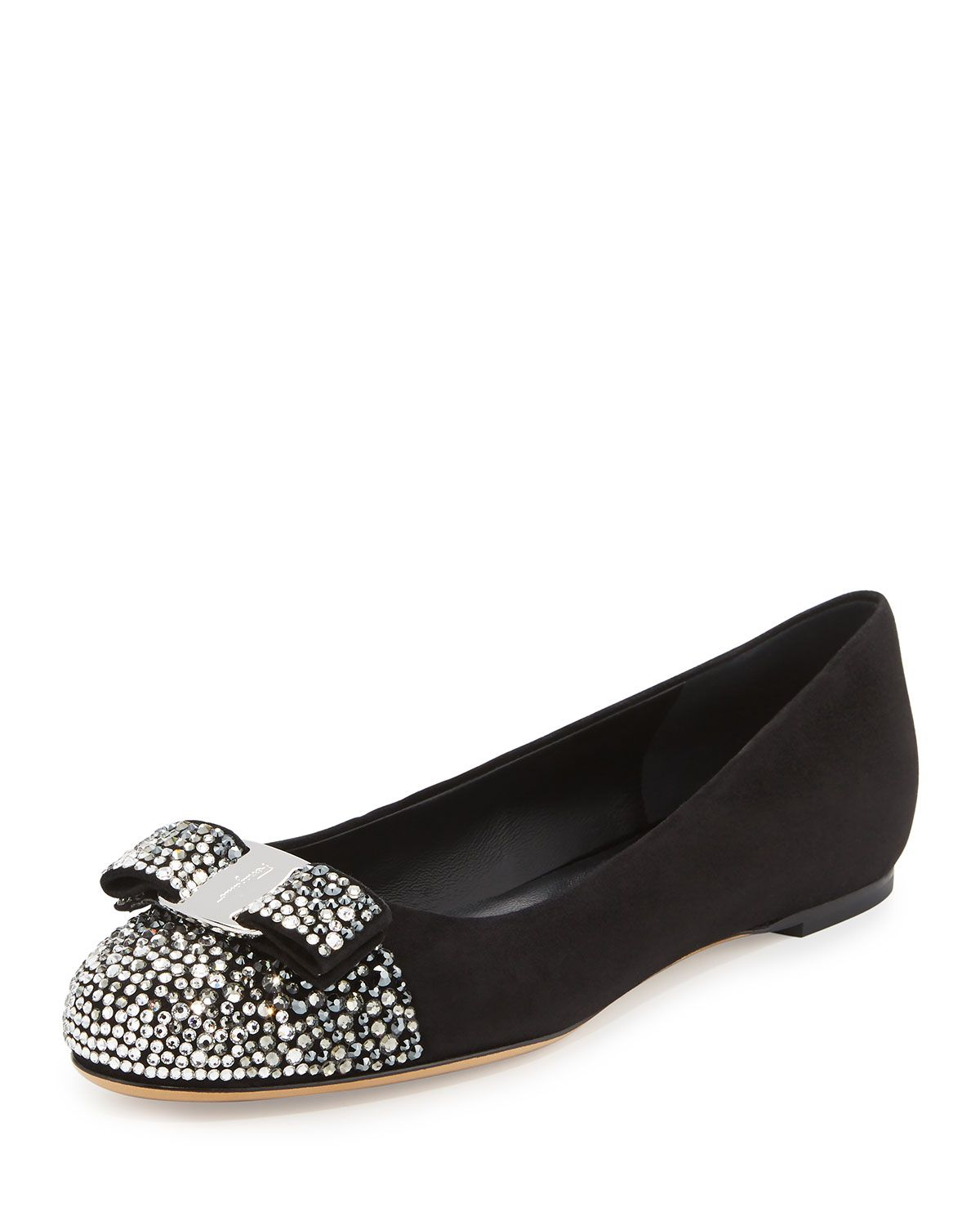 Shop Varina Crystal Suede Bow Ballerina Flat, Nero from Salvatore Ferragamo  at Neiman Marcus Last Call, where you'll save as much as on designer  fashions.