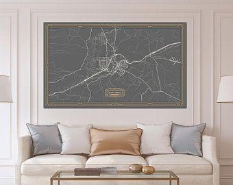 ROCK SPRINGS Wyoming map Art Deco Large Canvas print Map Horizontal ...