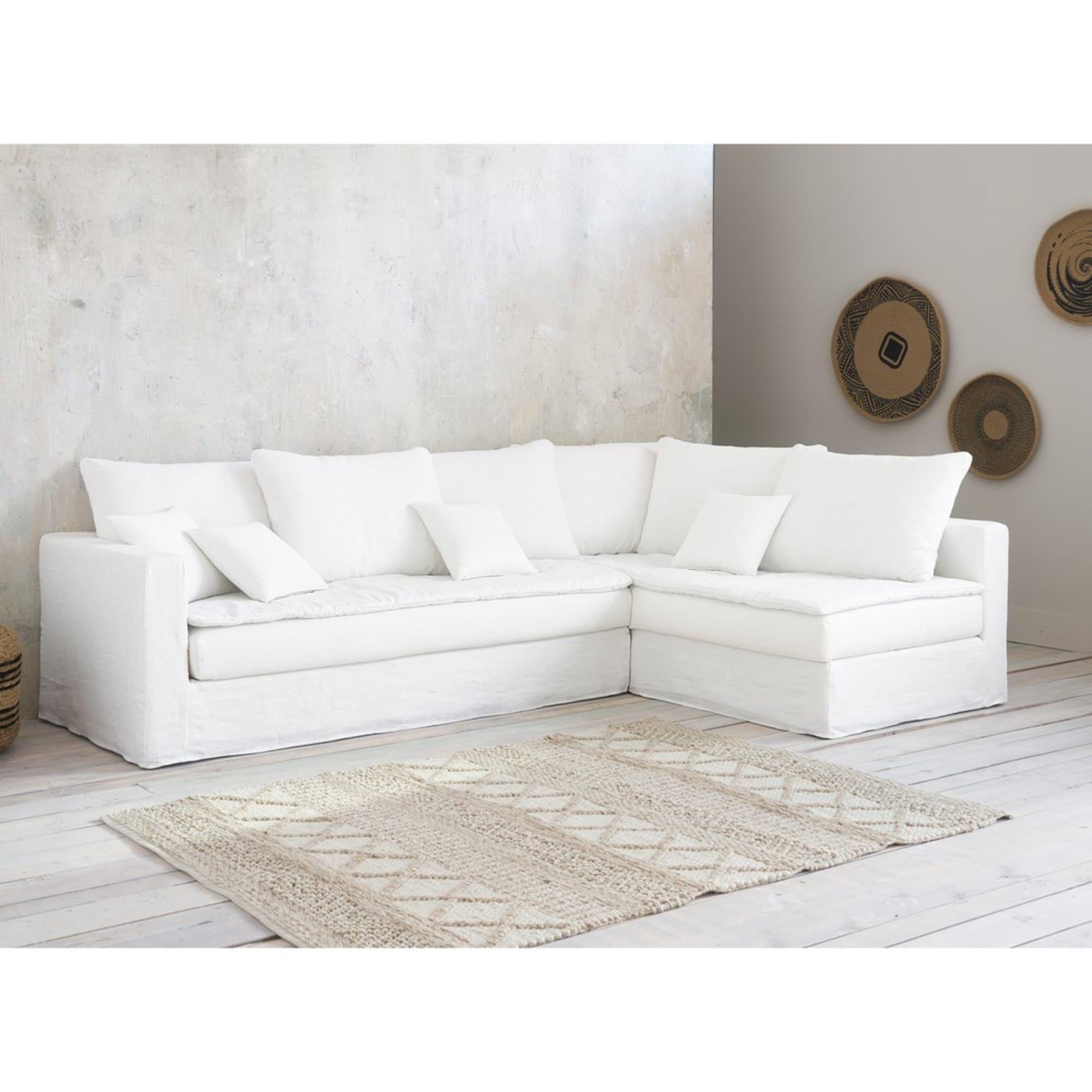 Canape D Angle 5 Places En Lin Lave Blanc Maisons Du Monde In 2020 White Sofas Linen Corner Sofa Corner Sofa Living Room