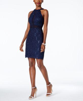 ead2f0e68e3 Nightway Petite Sequined Lace Halter Sheath Dress