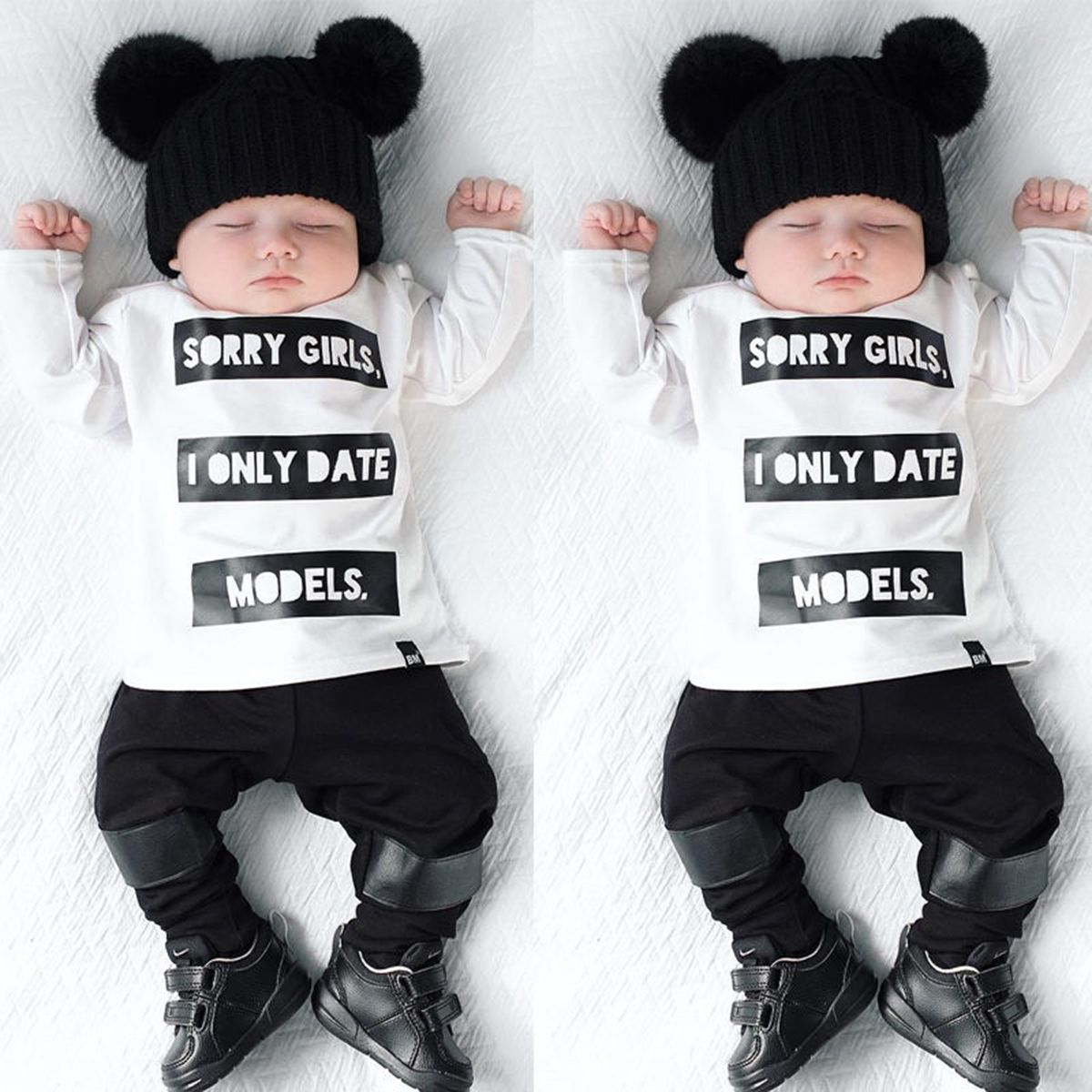 1af2ec156211a Newborn Infant Baby Boys Grils Long Sleeve T-shirt Tops+Pants Outfits Set