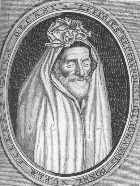 A few months before his death, John Donne commissioned this portrait of himself as he expected to appear when he rose from the grave at the Apocalypse.[15] He hung the portrait on his wall as a reminder of the transience of life.