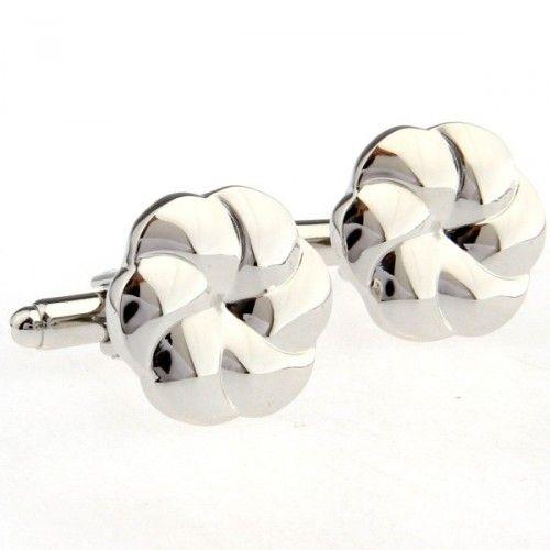 Silver Round Metal Cufflinks