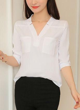 Solid Elegant Cotton V-Neckline 3/4 Sleeves Blouses #blusas