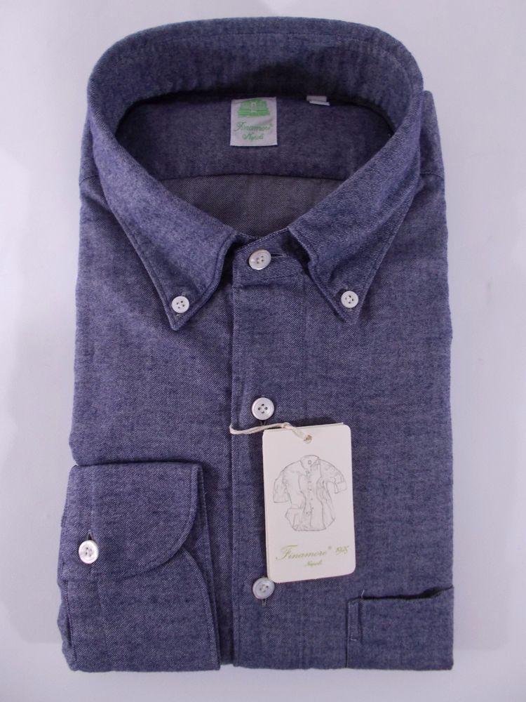 FINAMORE camicia uomo CASUAL FLANELLA cotone MELANGE blu A/I tg. M-L-XXL-3XL NWT