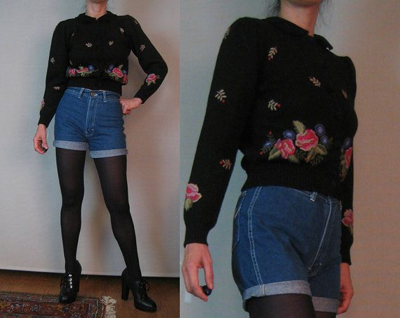 Vintage 80s EMBROIDERED HERMAN GEIST Velvet Peter Pan Collar Roses Austrian German Puff Slv Black Wool Knit Cardigan Sweater xs Small 1980s on Etsy, $75.00