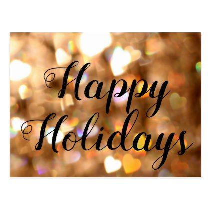 Custom happy holidays gold glitters background postcard