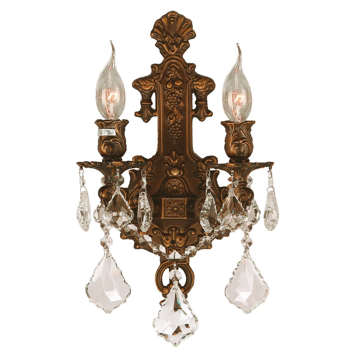 Traditional elegance 2 light french gold finish crystal candle traditional elegance 2 light french gold finish crystal candle wall sconce overstock shopping amipublicfo Gallery
