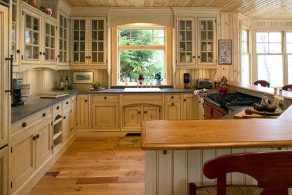 Cottage Style Kitchen Lotsa E Countertop Cupboards Light