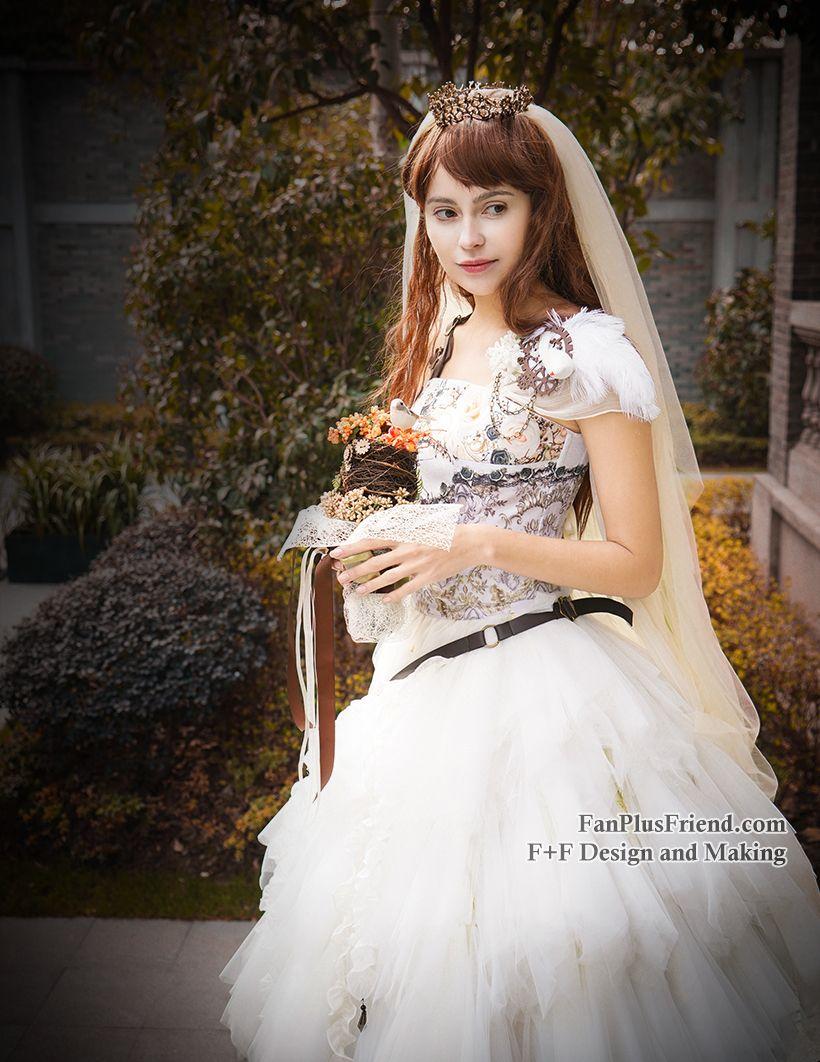 ff9615f061 fanplusfriend - NEW RELEASED OFFER: Steel Rose, Steampunk Wedding Bride  Tiered Soft Tulle Skirt