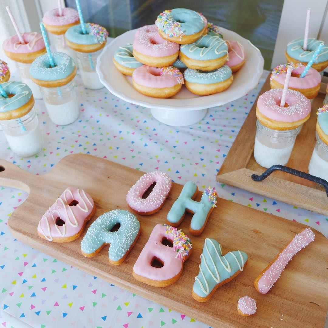 """12.5k Likes, 72 Comments - California Donuts #21 (@californiadonuts) on Instagram: """"Oh Baby! Custom letter and mini donuts for a dear friend's Gender Reveal party! Spoiler alert:…"""""""