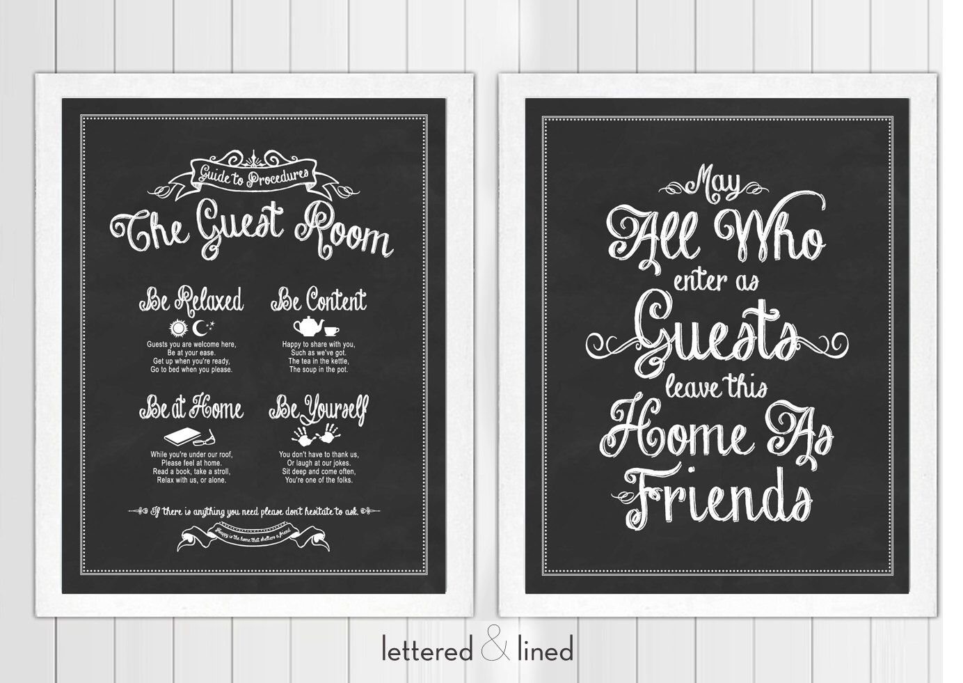 Guest Room Print Set: Guide To Procedures and May All Who Enter As Guests Leave As Friends - 11x14 print - Quote, Sign, Vintage, Decor, Art by letteredandlined on Etsy https://www.etsy.com/listing/160173607/guest-room-print-set-guide-to-procedures