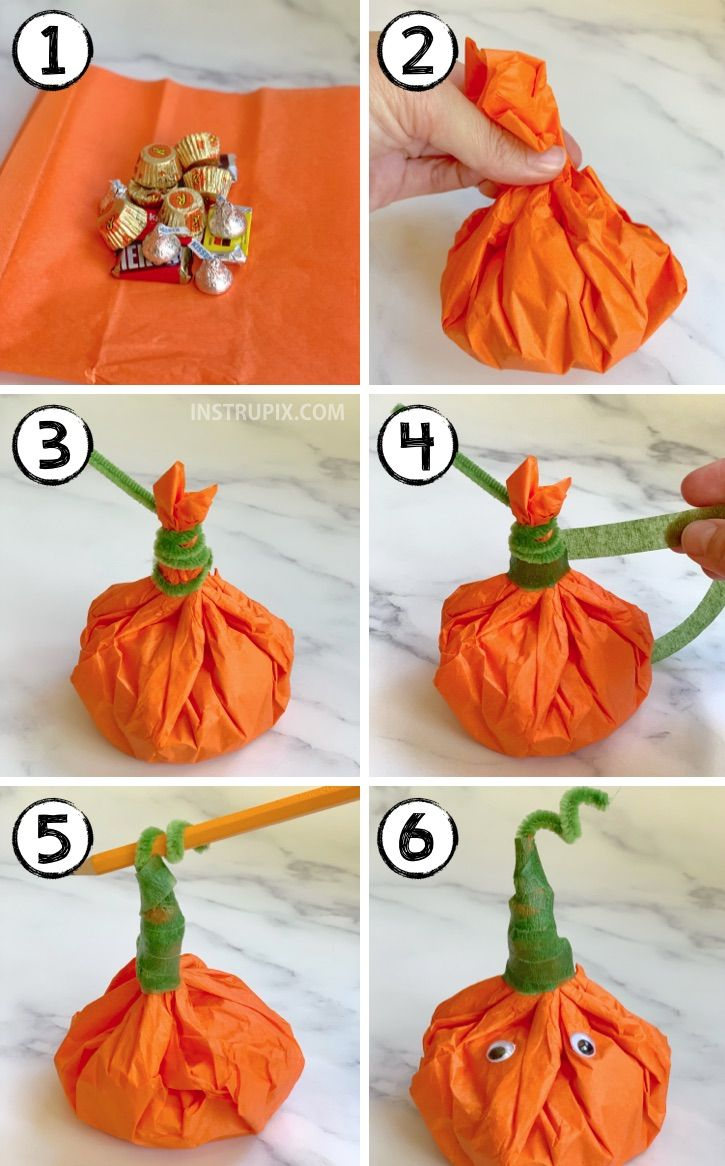 {Halloween Party Idea} Tissue Paper Pumpkin Goody Bags