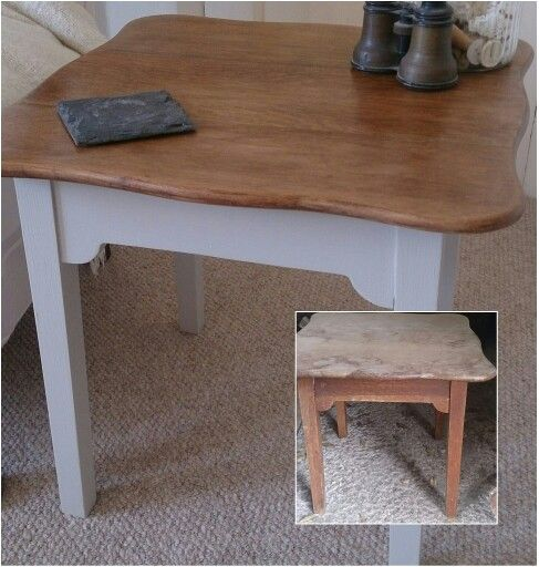 1960s upcycled side table in oak & Farrow & Ball Purbeck Stone