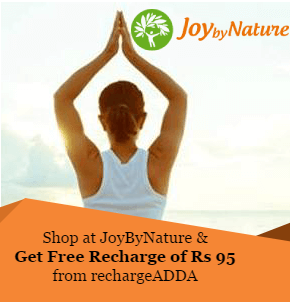 Get Free Recharge of Rs 95 from rechargeADDA on shopping at JoyByNature