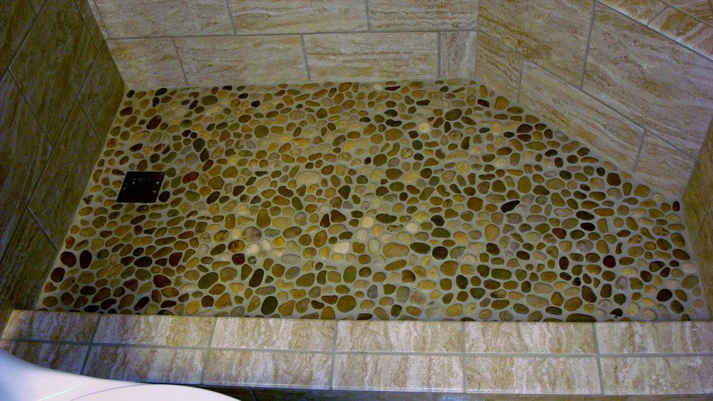 Ceramic Tile With Pebble Stone Shower Pan Yelp Bohemian Tiles