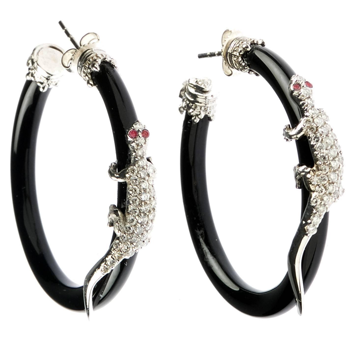 Stambolian yx Diamond gold Lizard Earrings Pinterest