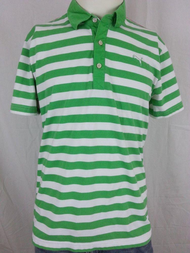 bb95b1f5 Puma Men's Golf Sport Lifestyle Dry USP Polo White Green Striped Shirt - M  #Puma #PoloRugby