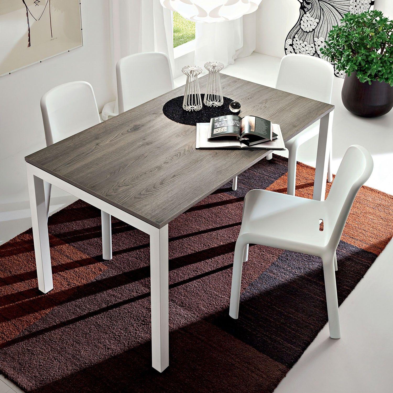 Tavolo da pranzo rettangolare economico Baston con piano in melaminico rovere grigio