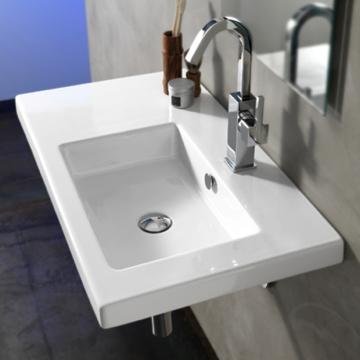 Bathroom Sink Rectangular White Ceramic Wall Mounted Vessel Or