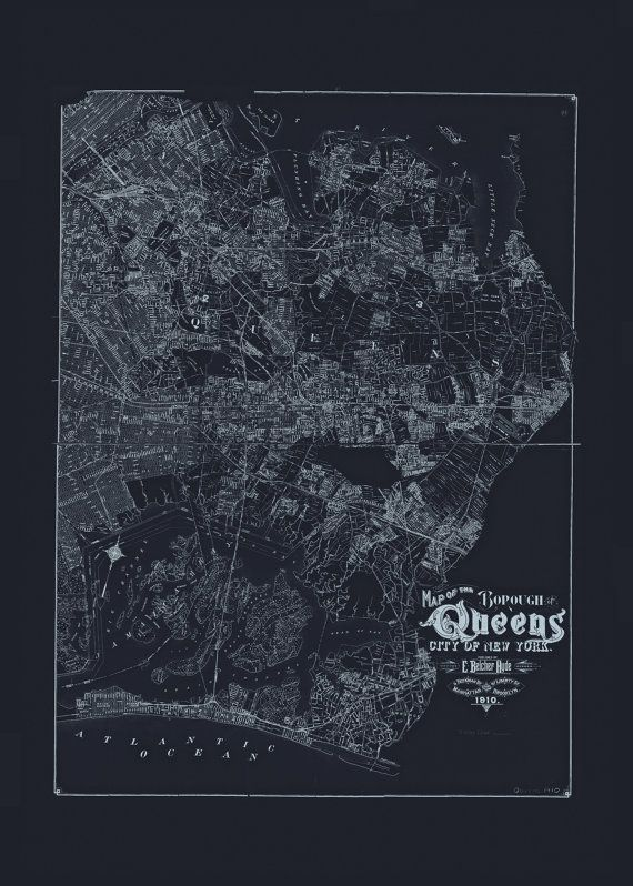 QUEENS NYC MAP Blueprint Map of Queens Vintage Map fice Wall