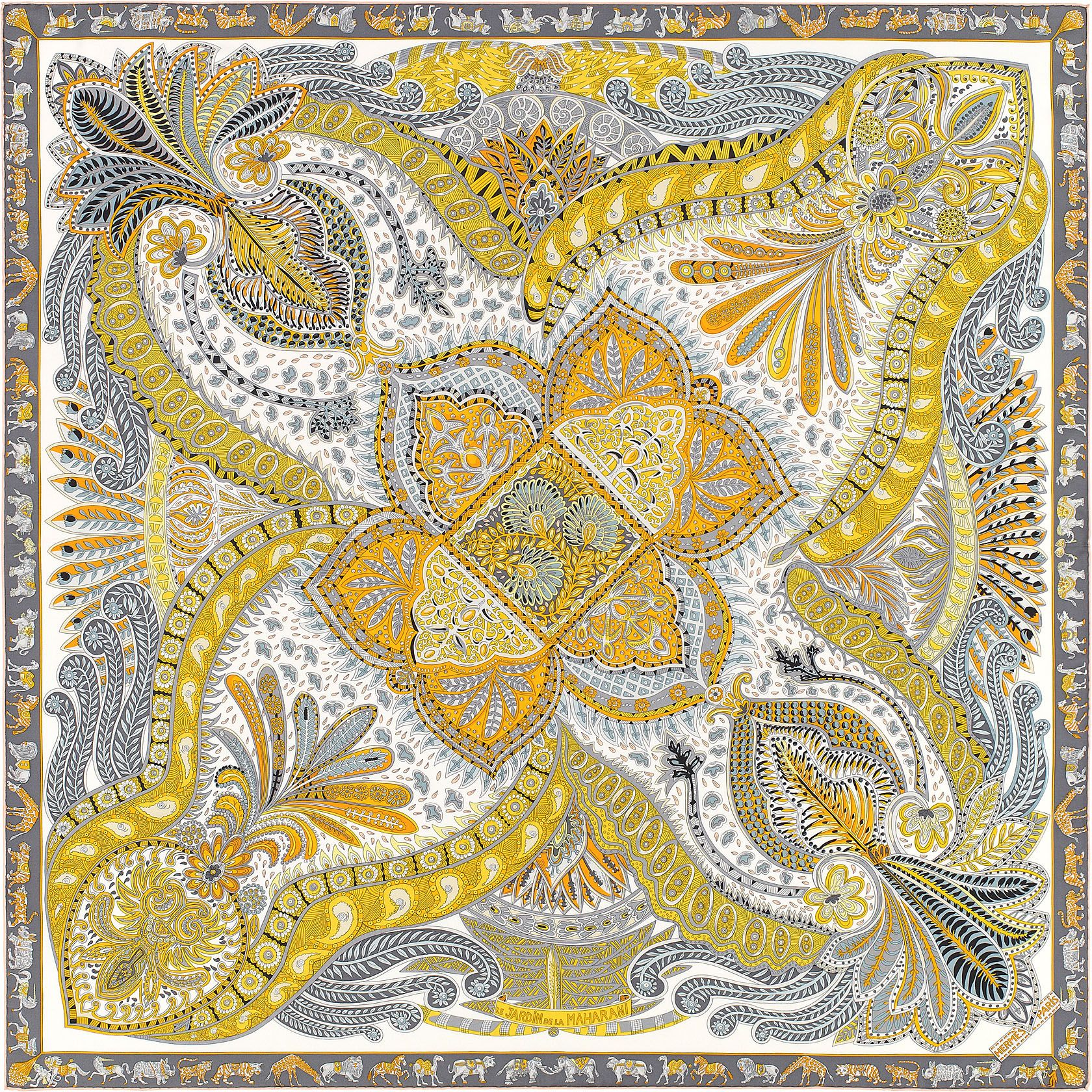 Hermes Le Jardin de la Maharani 100% silk twill scarf hand rolled