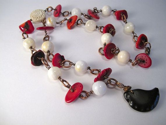 By Christi Dick. White Mountain Jade, Red Bamboo Coral Beaded Necklace, Wire Wrapped Copper, Dark Brown Patina, Black Stone Bead, White Carved Cinnabar by www.LostMarblesJe..., $35.00