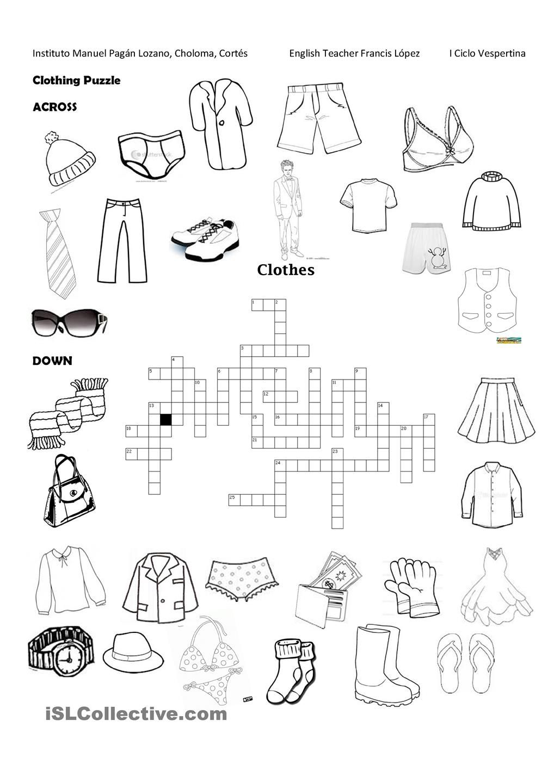 Clothing Puzzle Professores de inglês, Professor