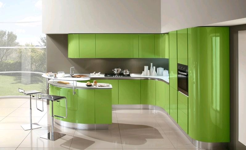 La cucina in verde lucido su sfondo grigio | VERDE Design Interni ...